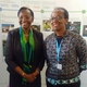 Dr Winnie Mpanju-Shumbusho (left), the Assistant Director General, HIV / AIDS, Tuberculosis, Malaria and NTDs (left) and Dr Hannah Akuffo, Lead Specialist, Research, at Sida at the meeting in Geneva.‎ The photograph was taken by Prof Sankoh.